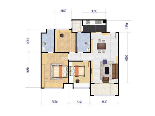 3座3单元2-9层02房户型 91�O
