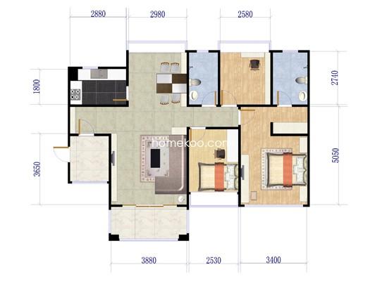 11座04户型3室2厅2卫1厨 127�O