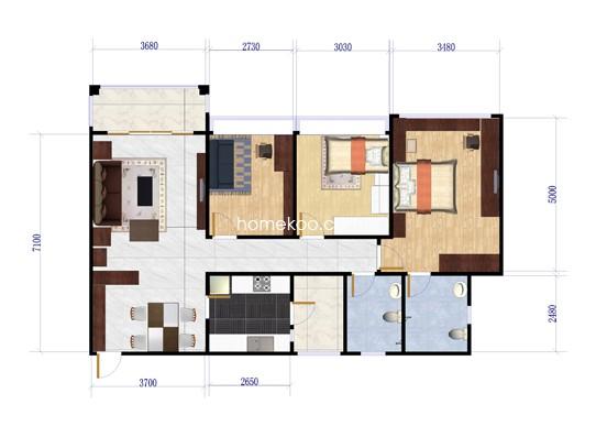 14座04户型3室2厅2卫1厨 113�O