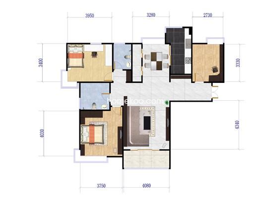 3室2厅2卫1厨 122�O