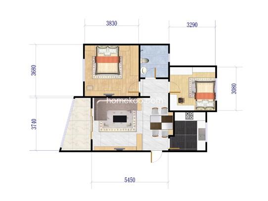 3-6号楼C2 2室2厅1卫1厨 80�O