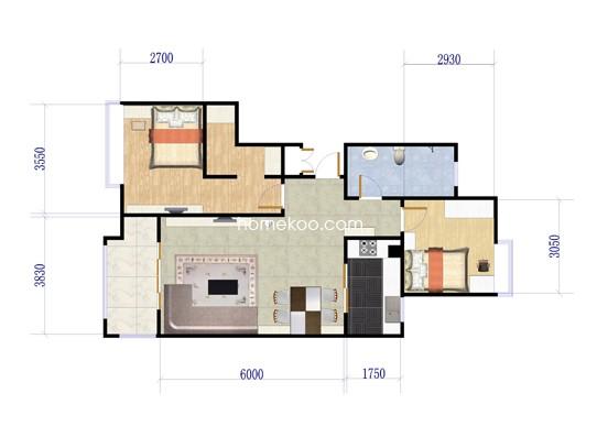 2室2厅1卫1厨 88�O