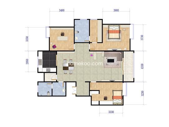 3室2厅2卫1厨 135�O