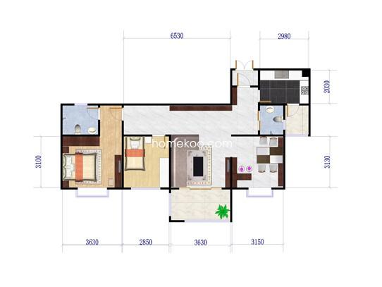 C2户型图2室2厅2卫 100�O