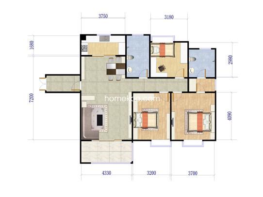 F1户型图3室2厅2卫 127�O