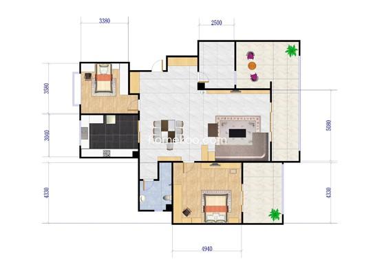 A6户型两房两厅 110�O