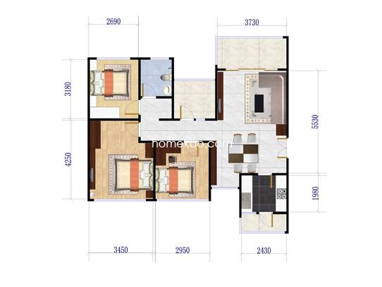 D户型3室2厅1卫1厨 89�O
