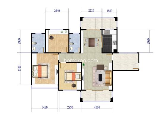 A座01户型3室2厅2卫1厨 88�O