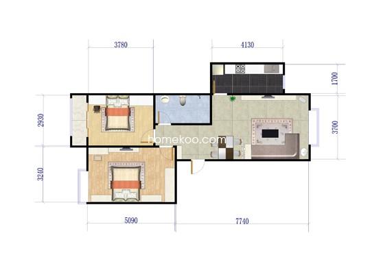 d1户型2室2厅1卫1厨 91�O