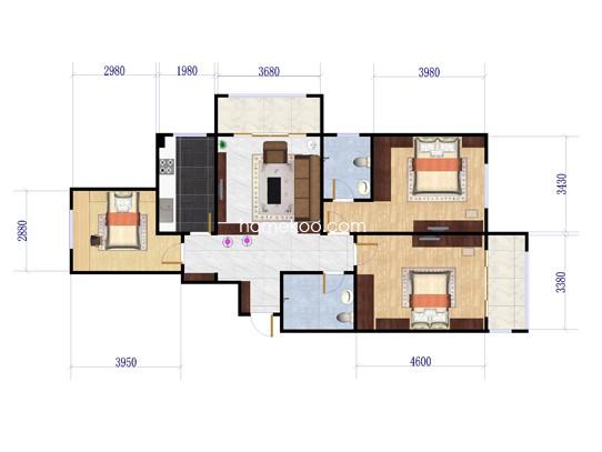 7号楼e1户型3室2厅2卫1厨 125�O
