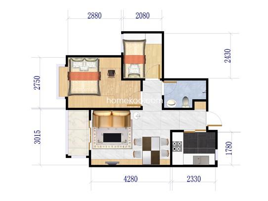 2号楼B1户型2室2厅1卫 90�O