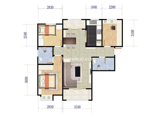 1号楼A1户型3室2厅2卫 129�O