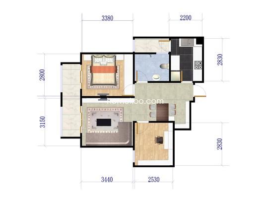 5号楼02户2室2厅1卫1厨 86.40�O