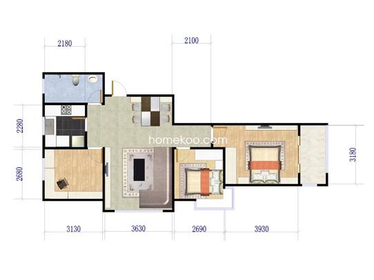 3室2厅1卫1厨 109�O