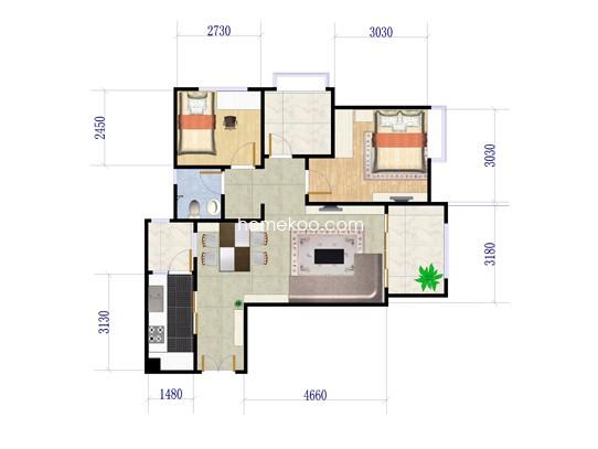 A户型两房两厅 85.98�O