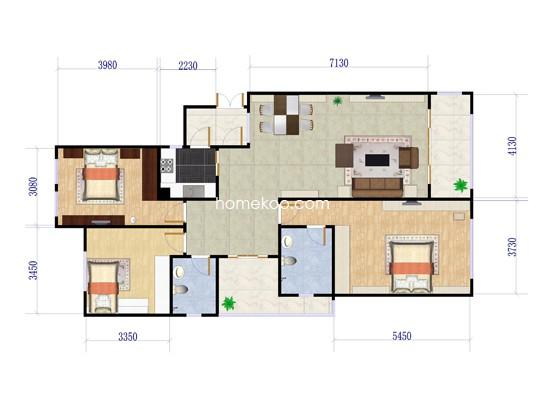 B户型三房两厅