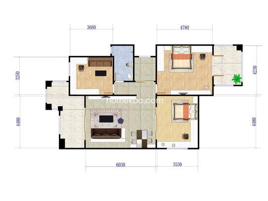 A户型三房两厅 111�O