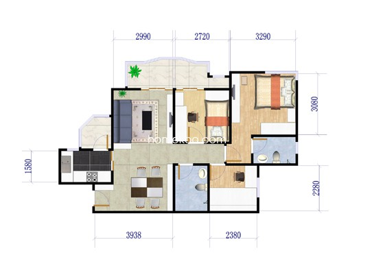 3B户型3室2厅2卫1厨 101.80�O
