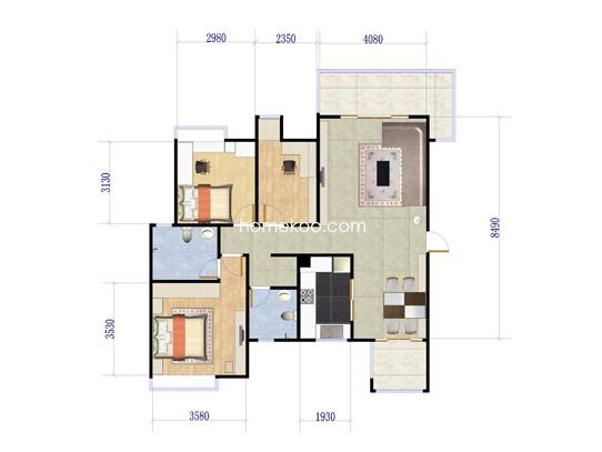 03户型3室2厅2卫 110�O