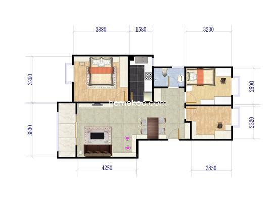 A1户型图3室2厅1卫1厨 103�O