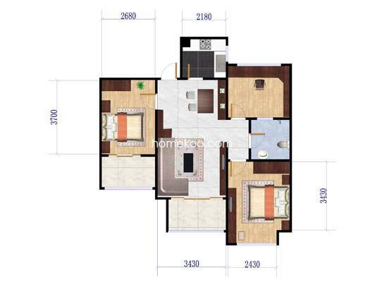 E4户型2室2厅1卫1厨 96�O