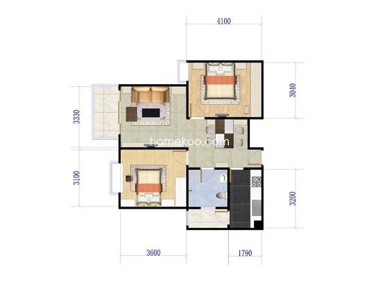 2室2厅1卫1厨 90�O