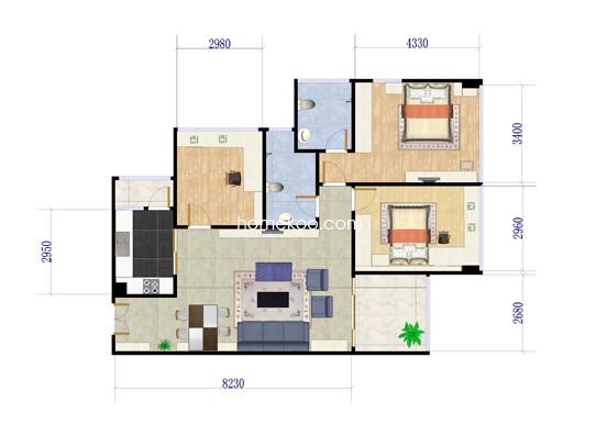 A01户型3室2厅2卫1厨 84.83�O