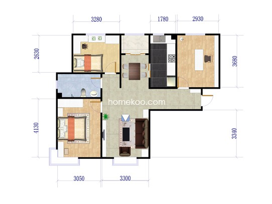 A户型三室两厅一卫 100�O