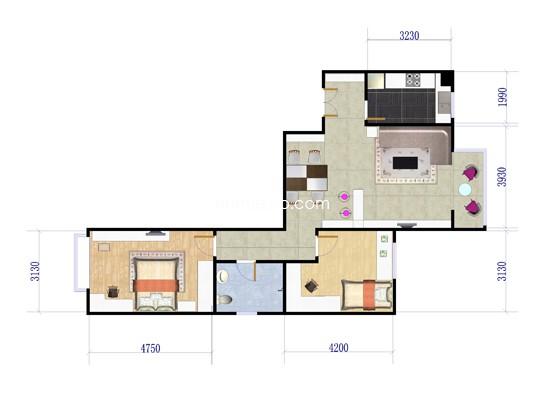 2单元C1户型两房两厅