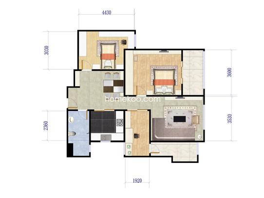 2房2厅1卫 90�O