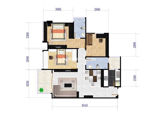 A户型3室2厅2卫1厨 89�O
