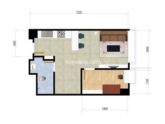 C座B户型3室1厅1卫1厨 48�O