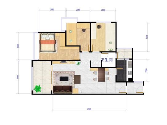 3#楼B户型3室2厅2卫1厨 77.76�O