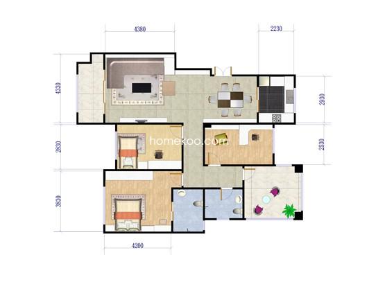 C5户型3室2厅2卫 123.79�O