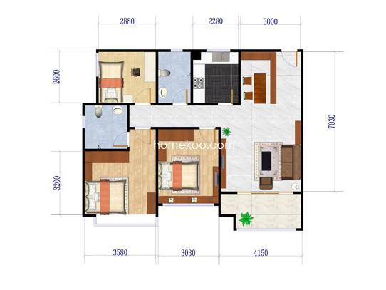 1E-3户型3室2厅2卫1厨 89�O