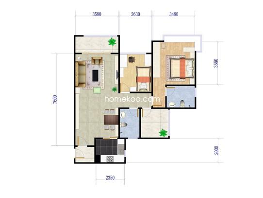 2室2厅2卫1厨 88�O