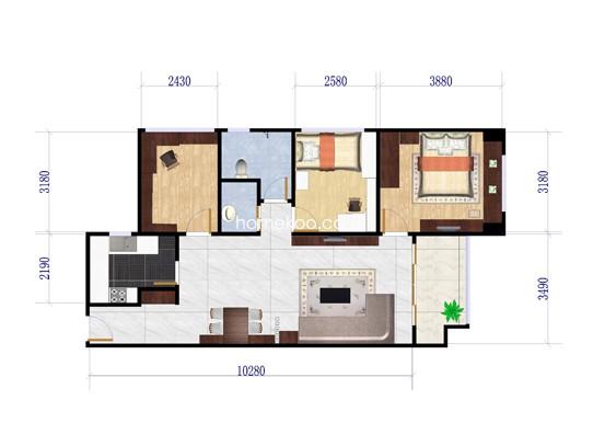 H-3B户型3室2厅1卫1厨 88�O