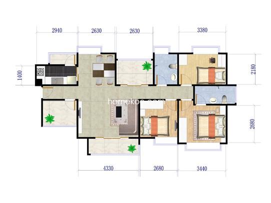 5栋3室2厅2卫1厨 121�O