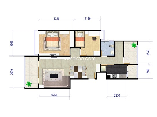 C户型2室2厅1卫1厨 89�O