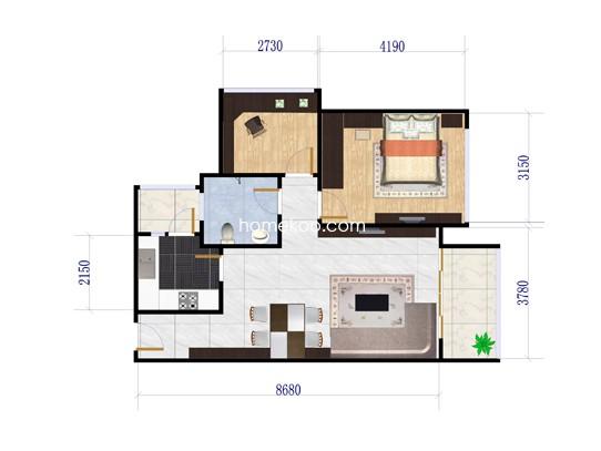 4栋E户型2室2厅