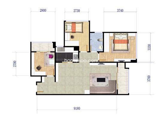 6栋A单元B户型3室2厅1卫1厨 74�O