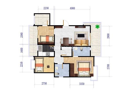 H2户型3室2厅2卫1厨 132�O