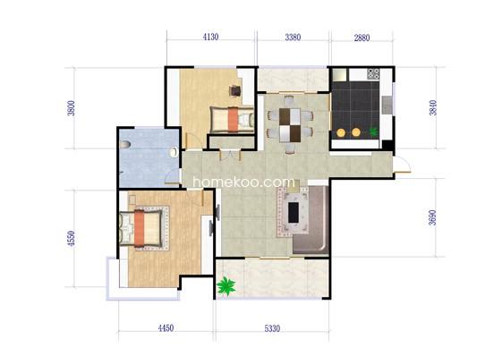 B1户型2室2厅1卫1厨 115�O