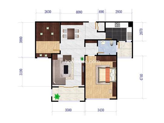 二期L-2户型2室2厅1卫1厨 89.21�O