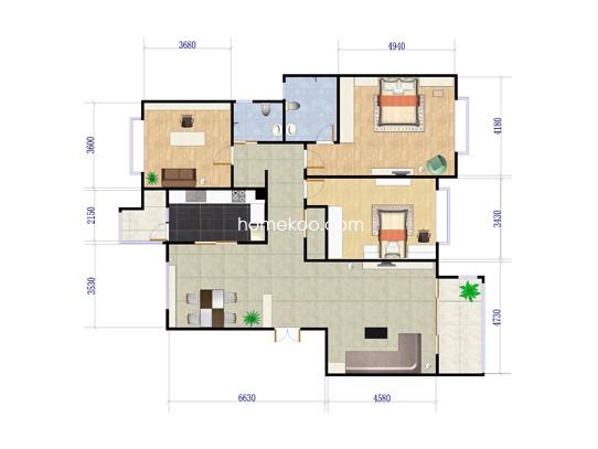 C1户型3室2厅2卫1厨 121�O