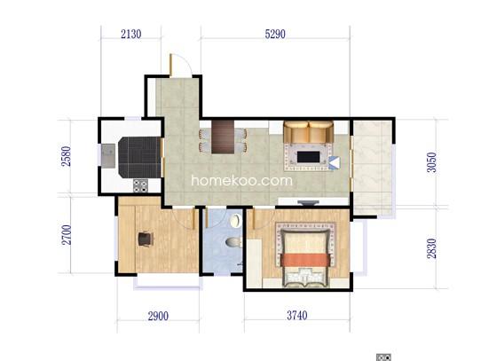 G3户型2室2厅1卫1厨 85�O