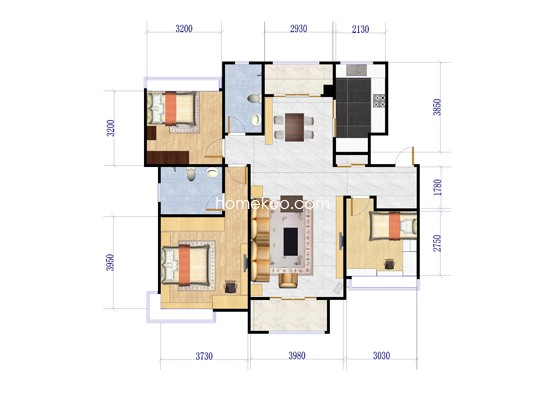C1户型3室2厅2卫1厨 117�O