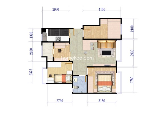 A户型3室2厅1卫1厨 85�O