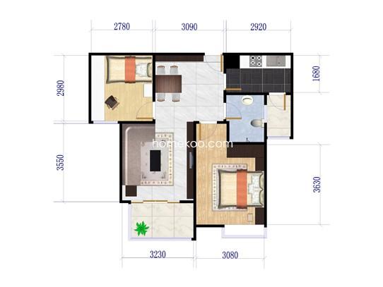 二期C3户型2室2厅1卫1厨 91�O