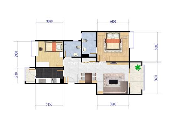 A-2户型2室2厅2卫1厨 90.75�O